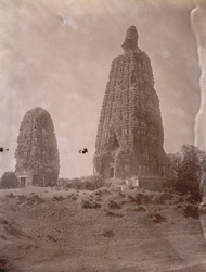 View of small and large Mahabodhi Temples from the north-east, Bodh Gaya, before restoration.